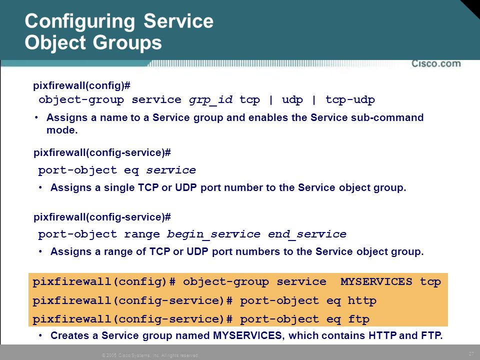 Configuring Service Object Groups