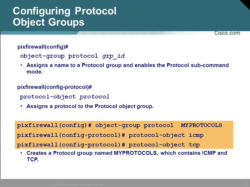 Configuring Protocol Object Groups