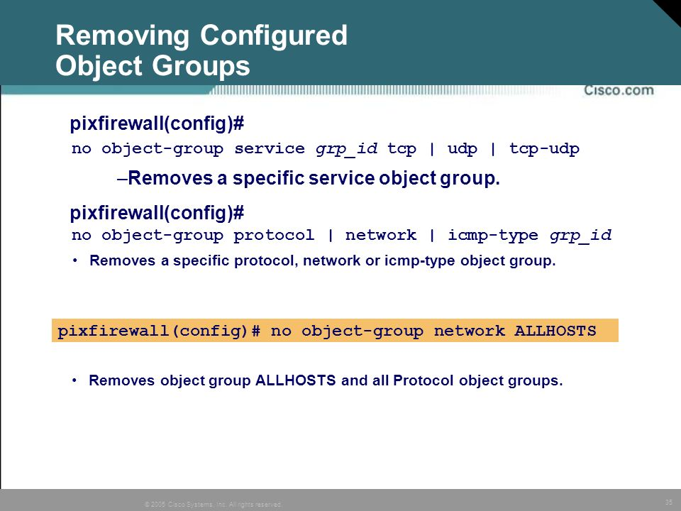 Removing Configured Object Groups