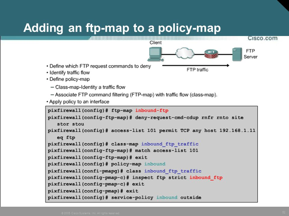 Adding an ftp-map to a policy-map
