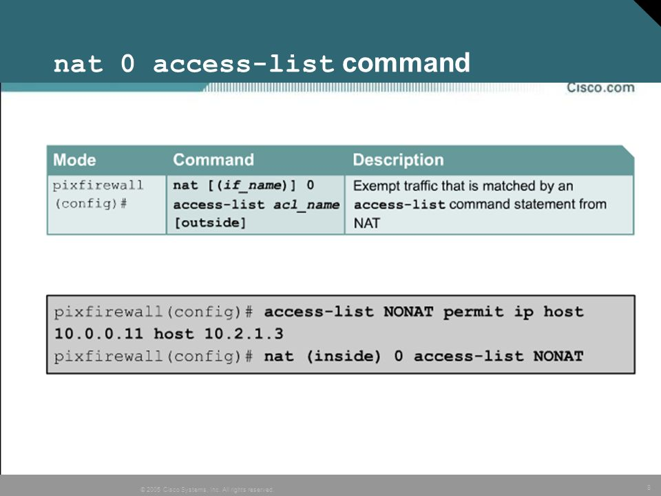 nat 0 access-list command