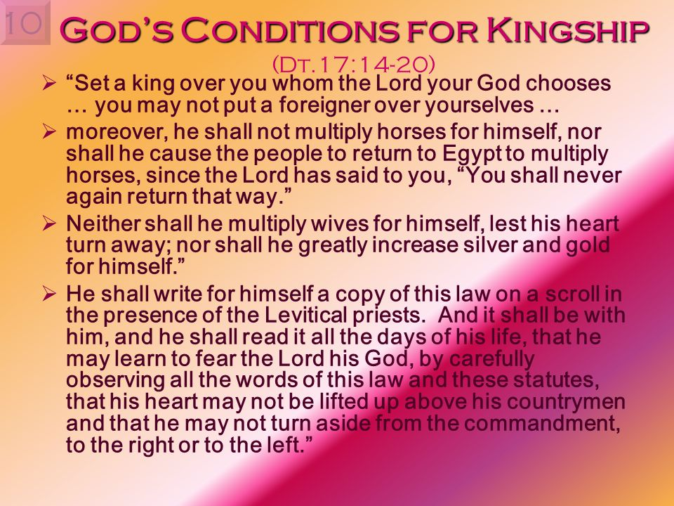 God's Conditions for Kingship (Dt.17:14-20)