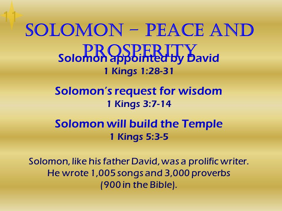 Solomon – Peace and Prosperity