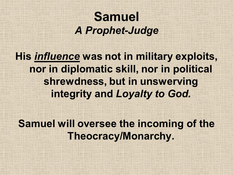 Samuel A Prophet-Judge