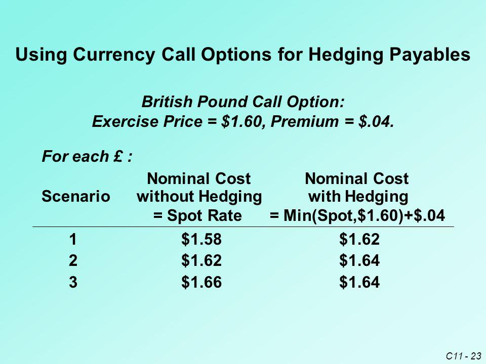 Using Currency Call Options for Hedging Payables