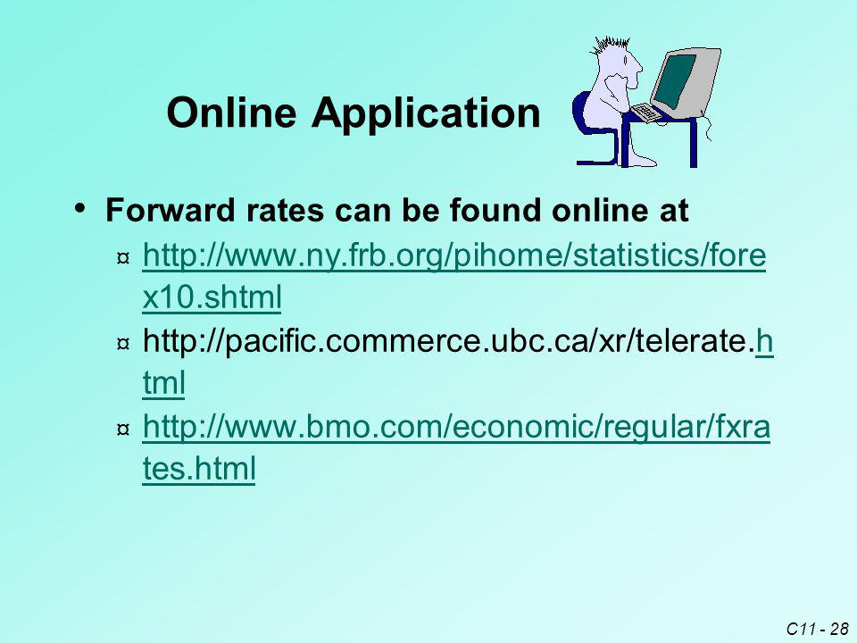 Online Application Forward rates can be found online at