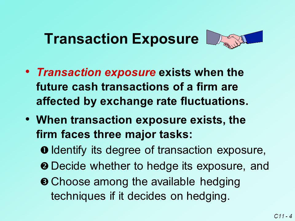 Transaction Exposure Transaction exposure exists when the future cash transactions of a firm are affected by exchange rate fluctuations.