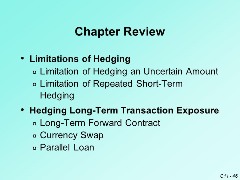 Chapter Review Limitations of Hedging