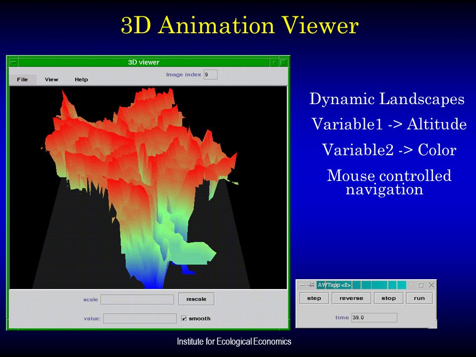 3D Animation Viewer Dynamic Landscapes Variable1 -> Altitude