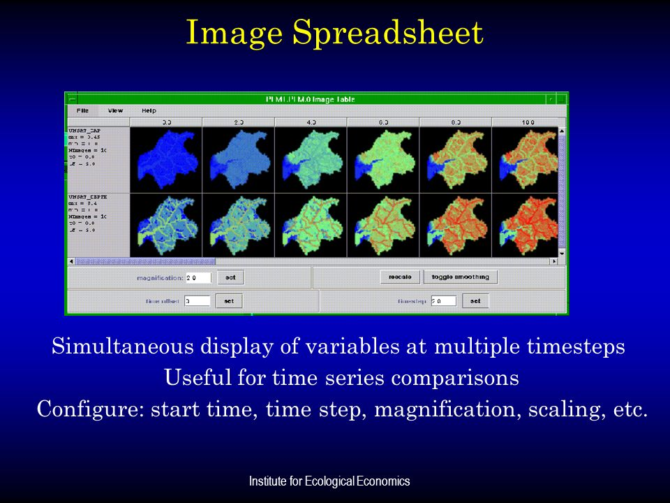 Image SpreadsheetSimultaneous display of variables at multiple timesteps. Useful for time series comparisons.