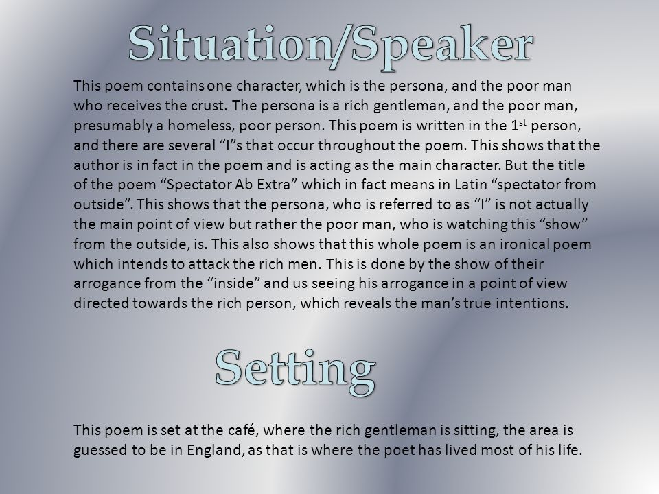 Situation/Speaker Setting
