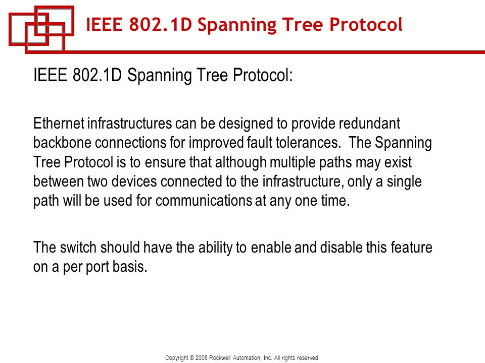 IEEE 802.1D Spanning Tree Protocol