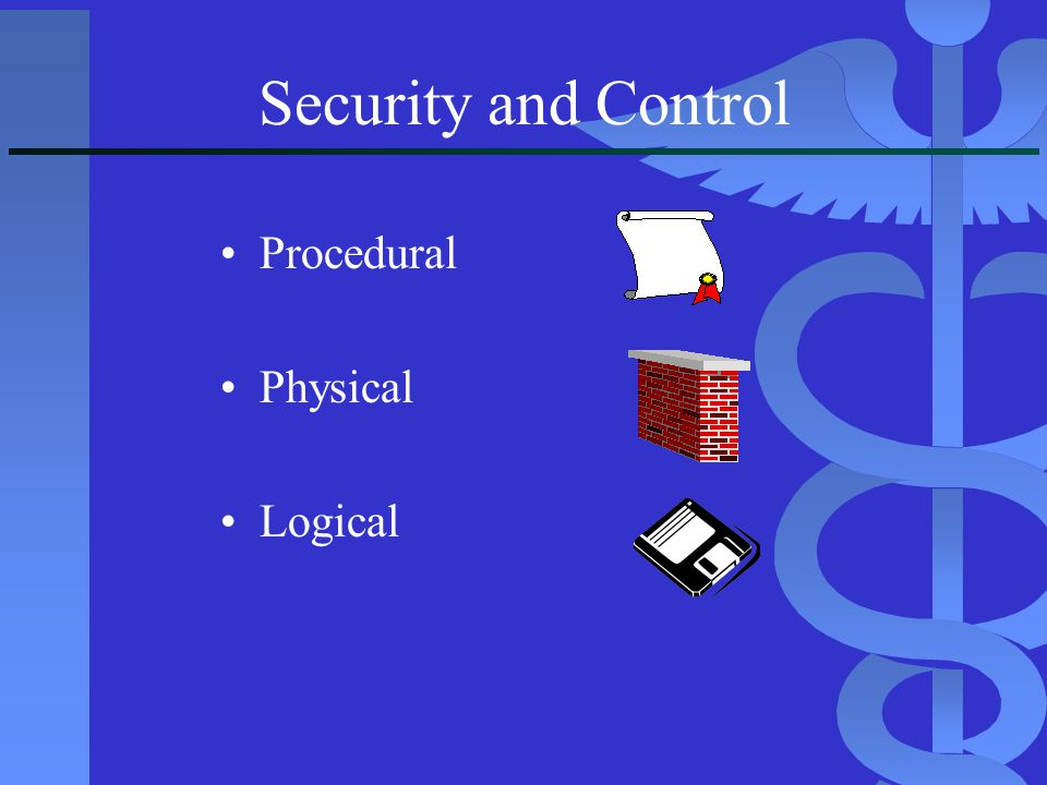 Security and Control Procedural Physical Logical