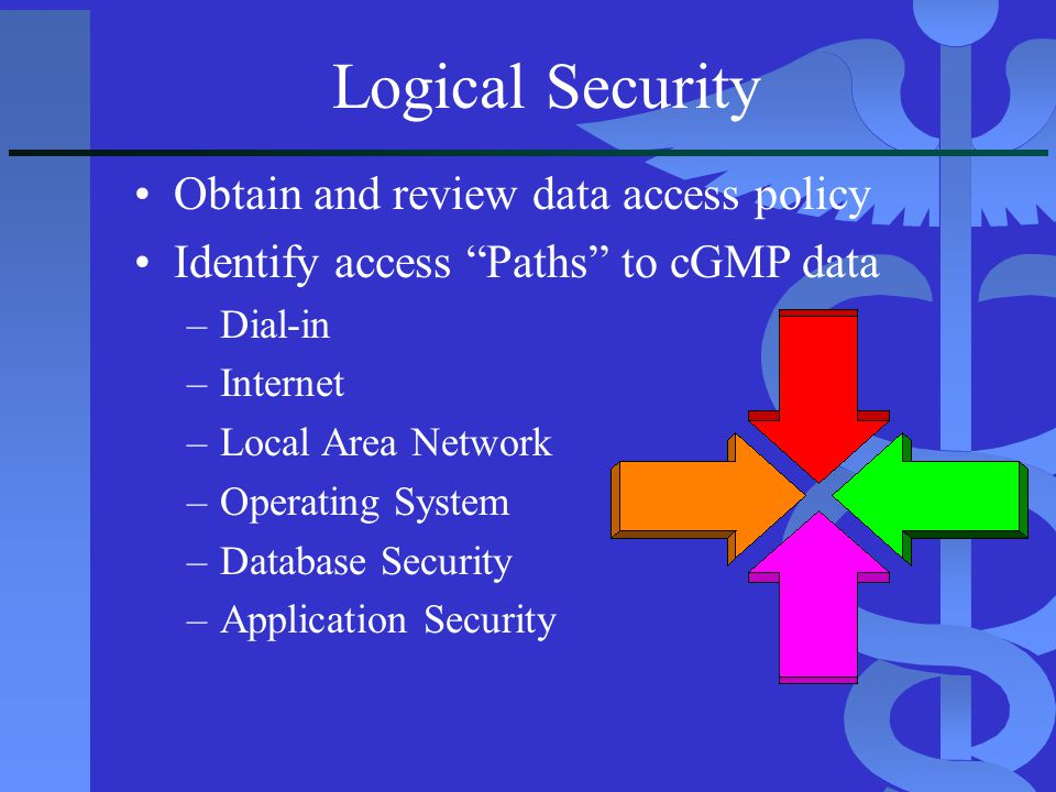 Logical Security Obtain and review data access policy
