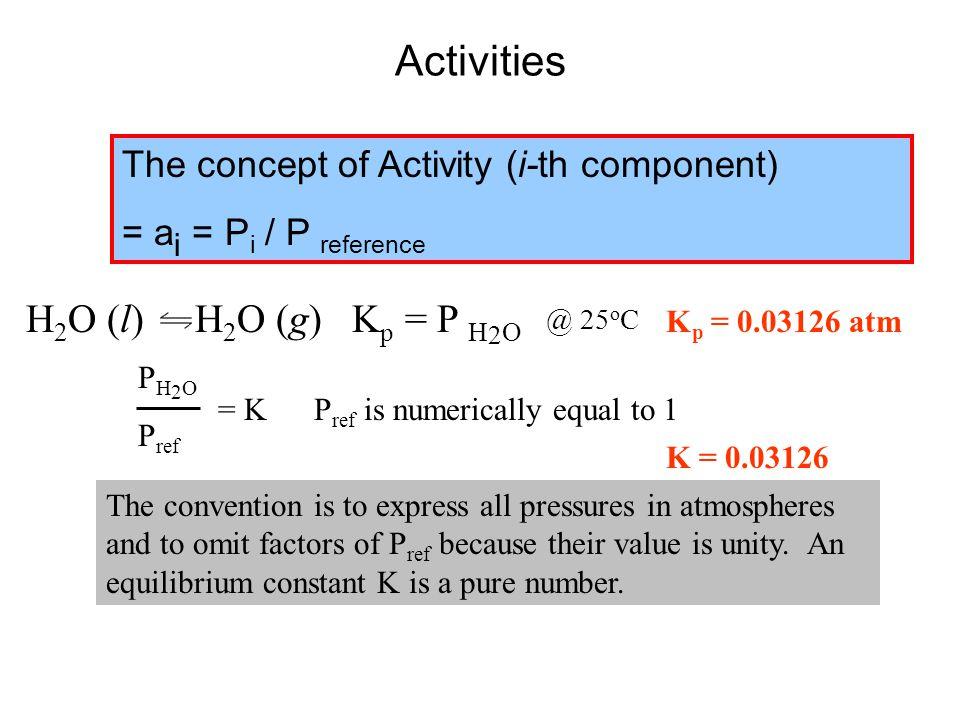 Activities H2O (l) H2O (g) Kp = P H2O