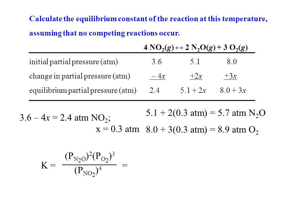 5.1 + 2(0.3 atm) = 5.7 atm N2O 3.6 – 4x = 2.4 atm NO2; x = 0.3 atm