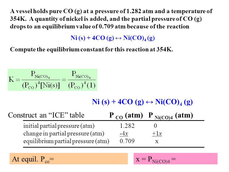 Ni (s) + 4CO (g) ↔ Ni(CO)4 (g)