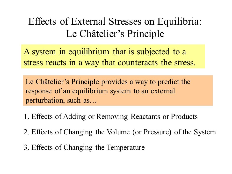 Effects of External Stresses on Equilibria: Le Châtelier's Principle