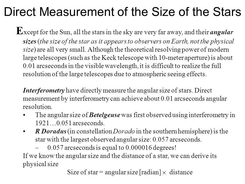 Direct Measurement of the Size of the Stars