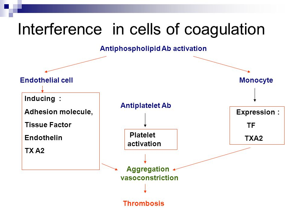 Interference in cells of coagulation