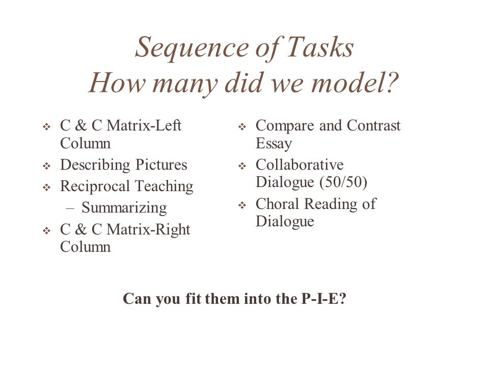 Sequence of Tasks How many did we model