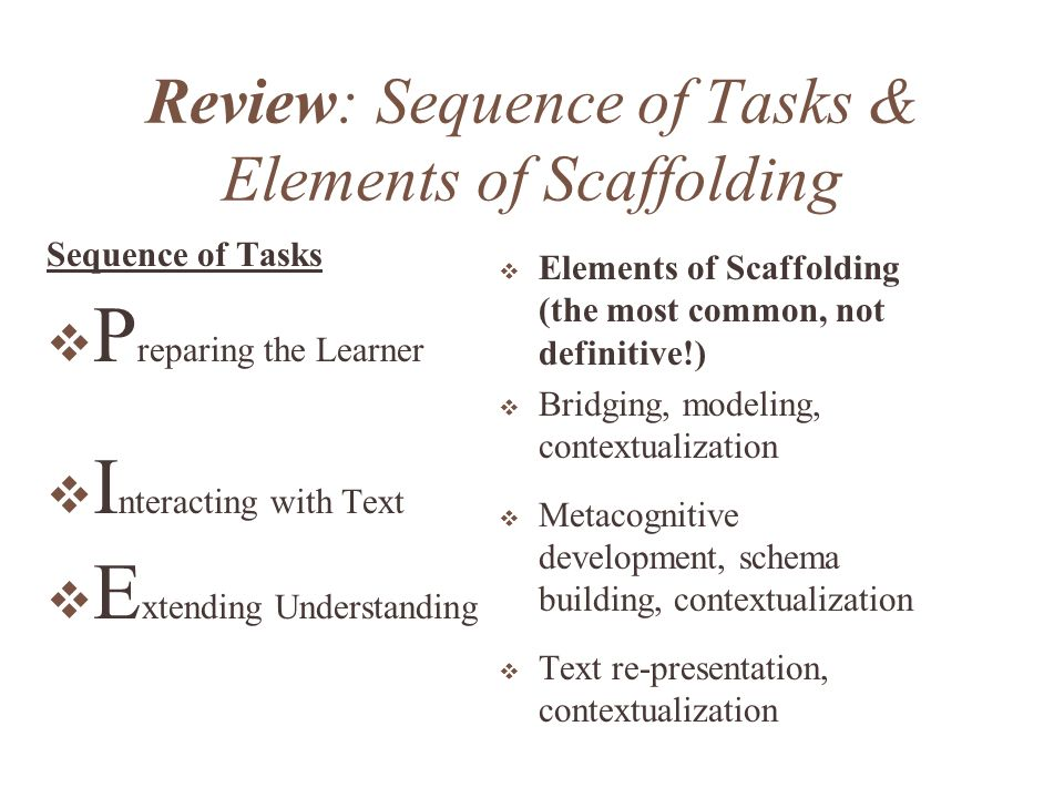 Review: Sequence of Tasks & Elements of Scaffolding