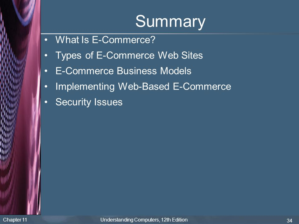 Summary What Is E-Commerce Types of E-Commerce Web Sites