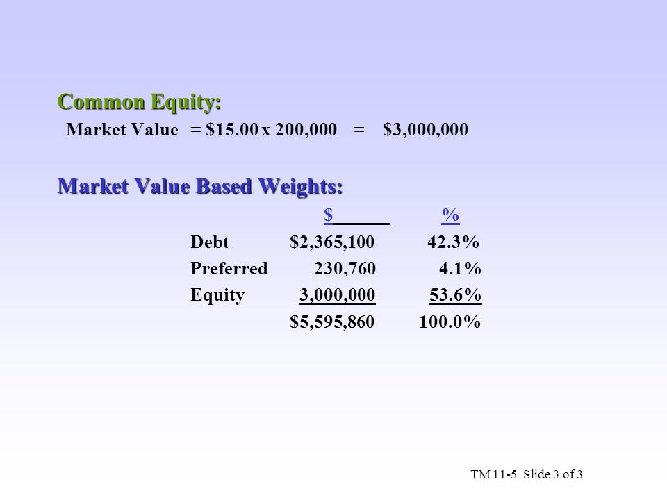 Market Value Based Weights: