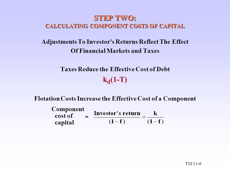 STEP TWO: CALCULATING COMPONENT COSTS OF CAPITAL