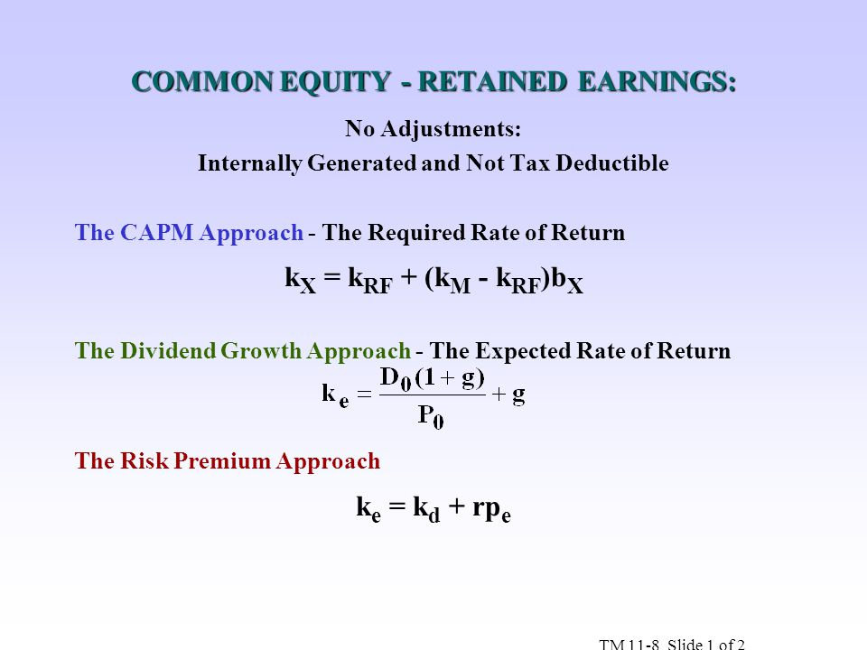 COMMON EQUITY - RETAINED EARNINGS: