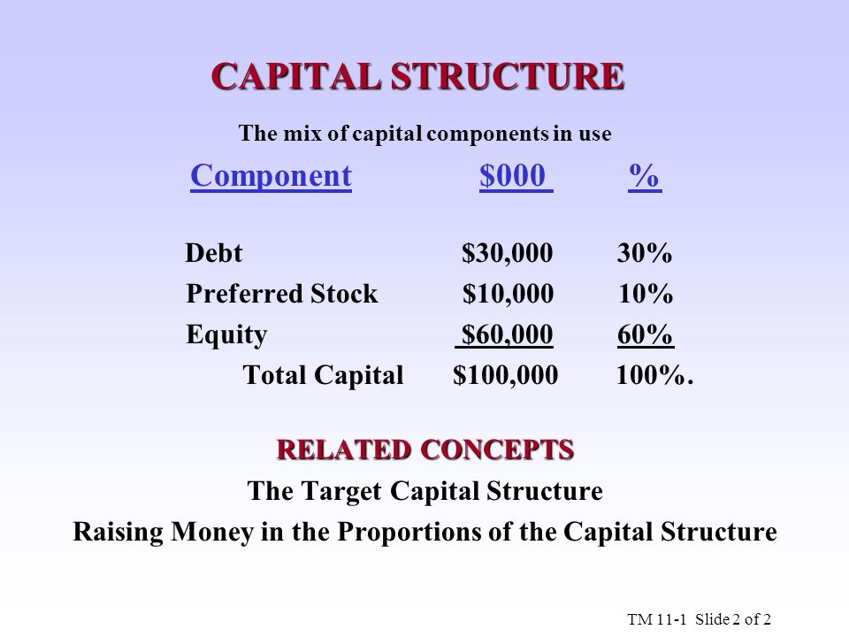 The mix of capital components in use The Target Capital Structure