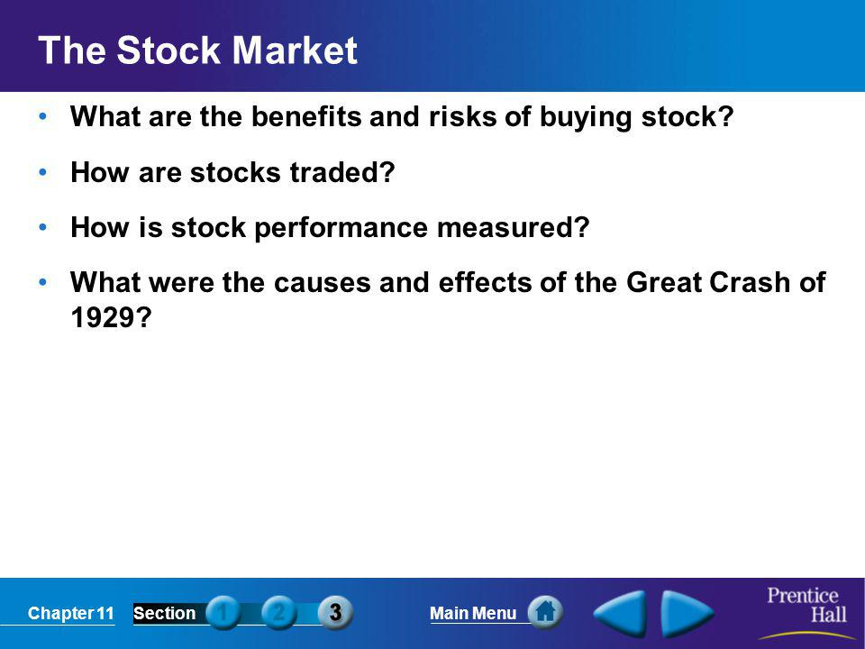 The Stock Market What are the benefits and risks of buying stock