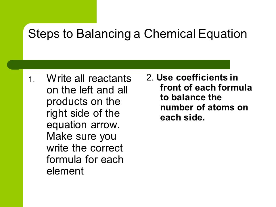 Steps to Balancing a Chemical Equation