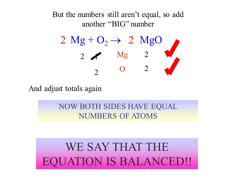 WE SAY THAT THE EQUATION IS BALANCED!!