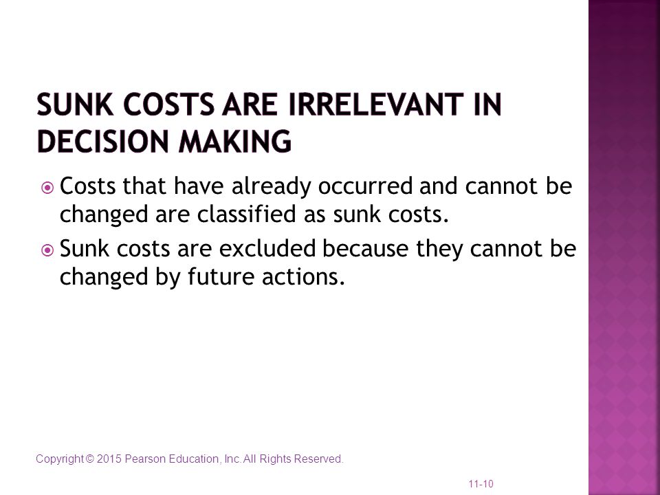 Sunk Costs Are Irrelevant in Decision Making
