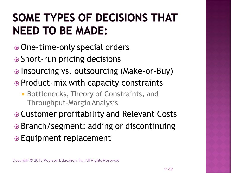 Some Types of Decisions that need to be made: