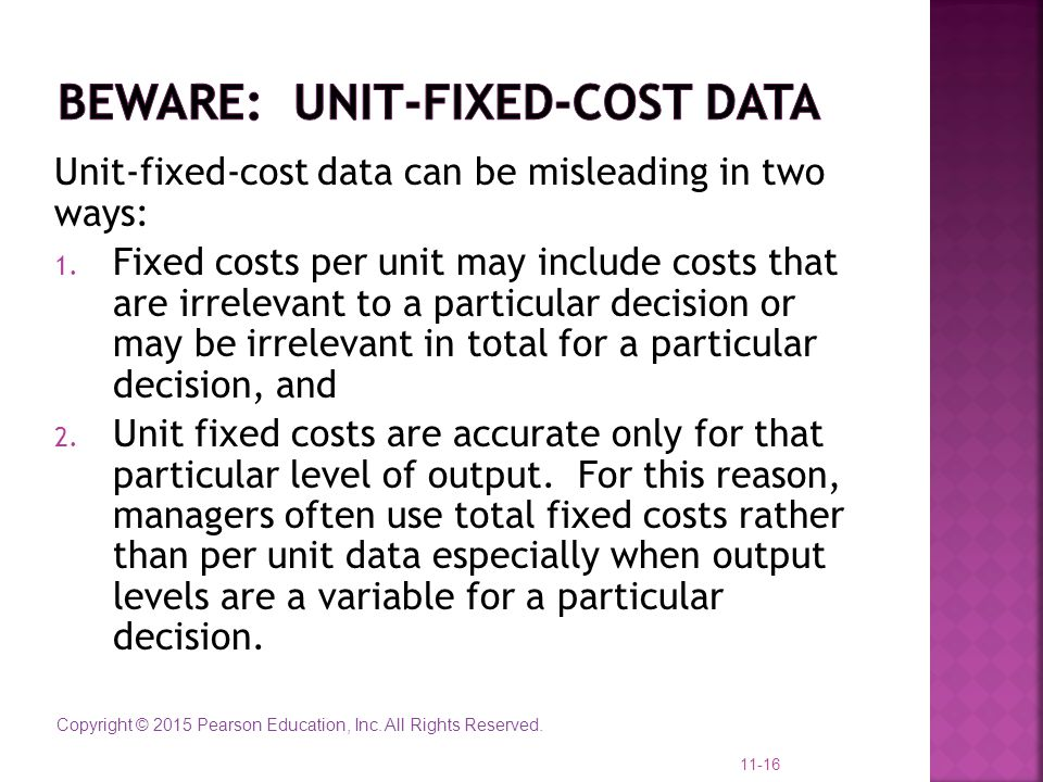 Beware: unit-fixed-cost data