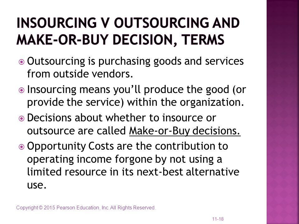 Insourcing v outsourcing and Make-or-Buy decision, terms