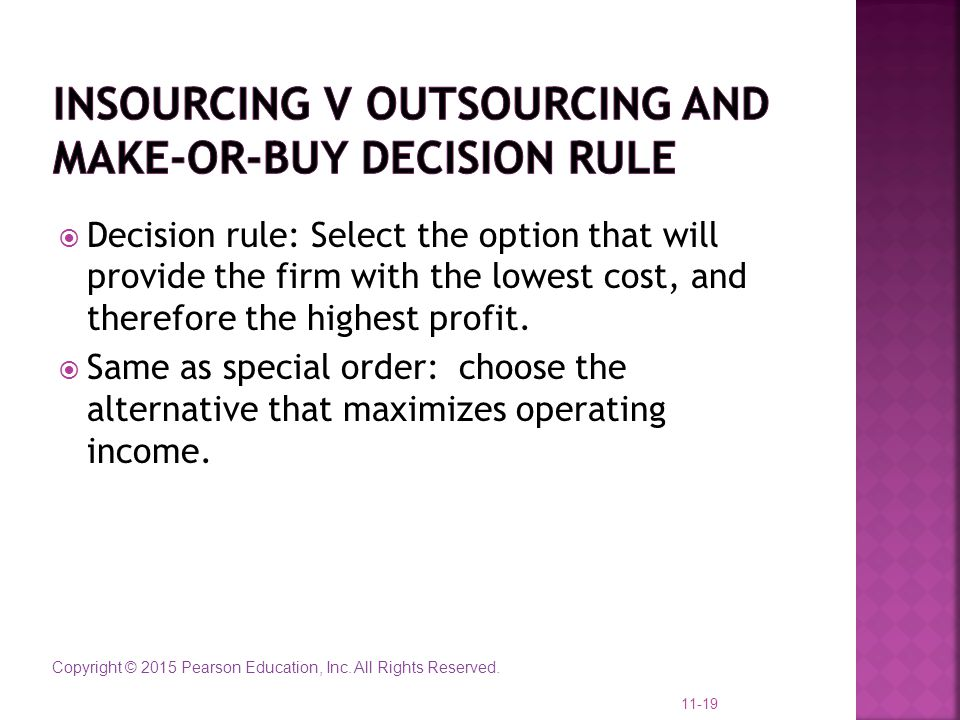 Insourcing v outsourcing and Make-or-Buy decision rule