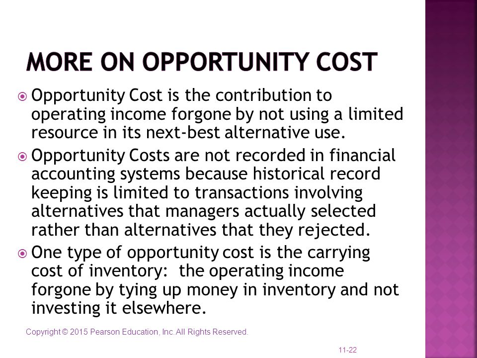 More on opportunity cost