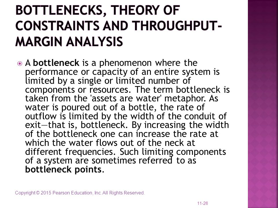 Bottlenecks, theory of constraints and throughput-margin analysis