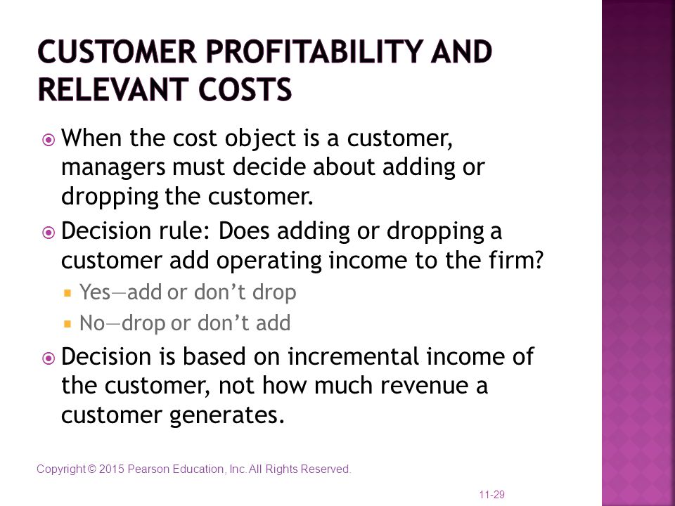 Customer profitability and relevant costs