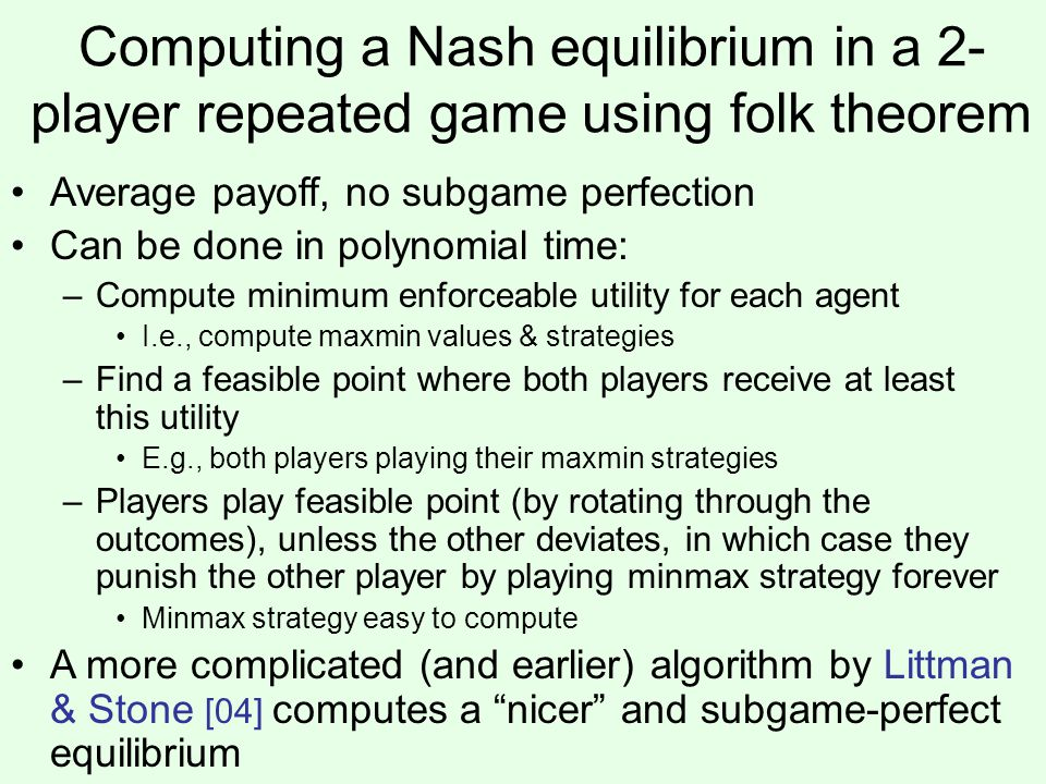Computing a Nash equilibrium in a 2-player repeated game using folk theorem