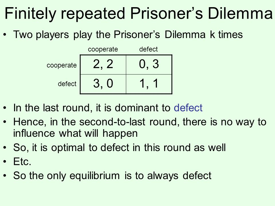 Finitely repeated Prisoner's Dilemma