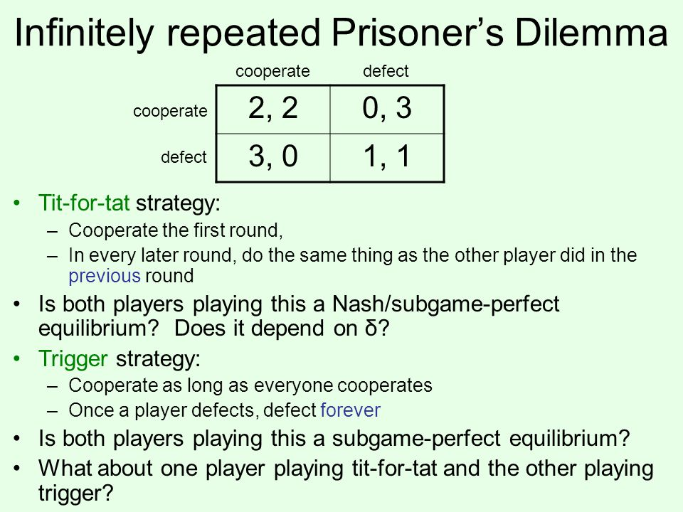 Infinitely repeated Prisoner's Dilemma