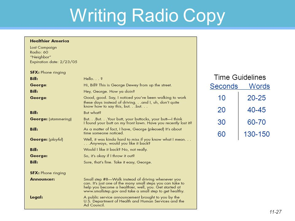 Time Guidelines Seconds Words