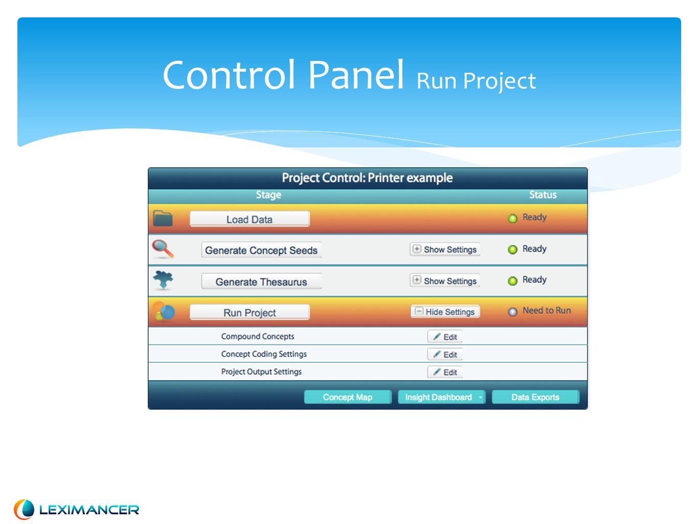 Control Panel Run Project