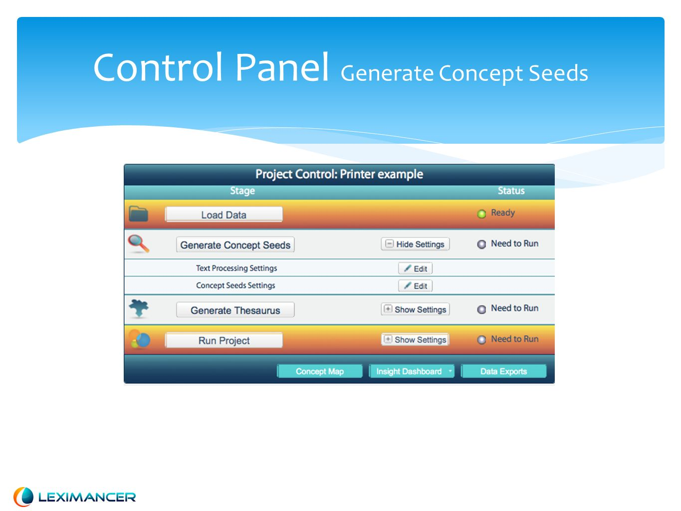 Control Panel Generate Concept Seeds