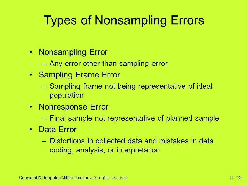Types of Nonsampling Errors