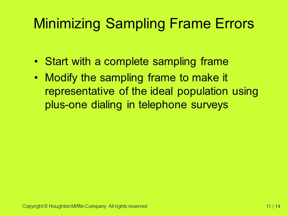 Minimizing Sampling Frame Errors